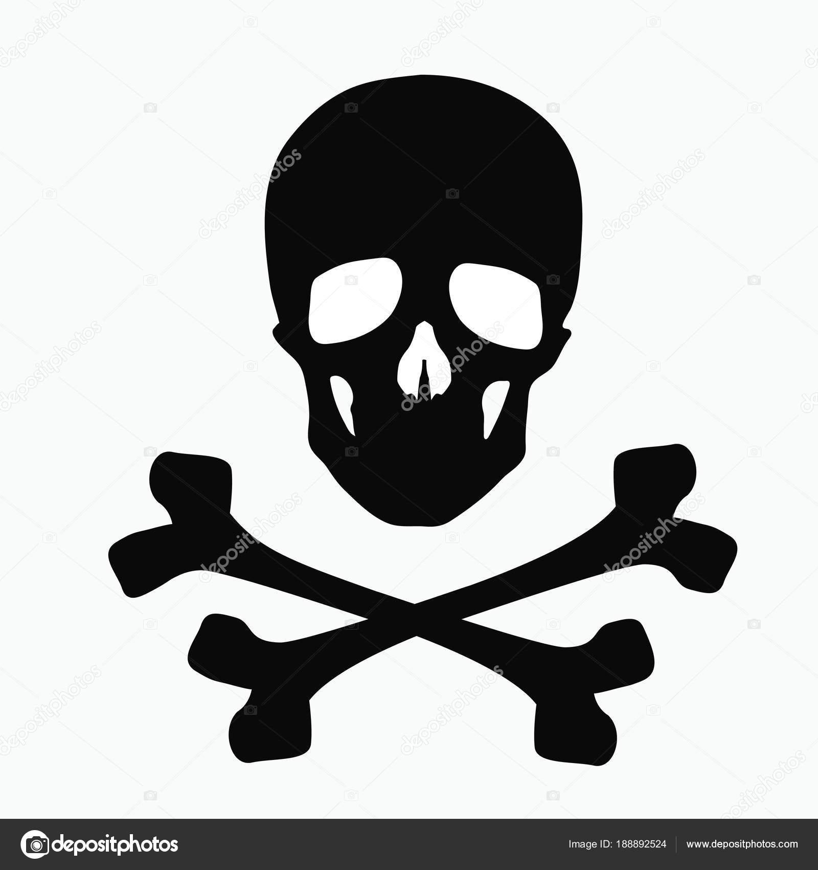 Skull And Bones A Sign Of Danger Illustration Isolated On White