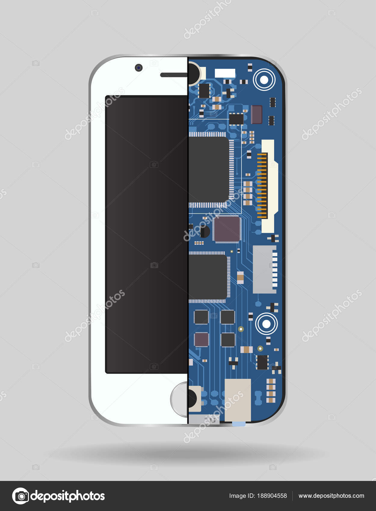 Internal phone device - circuit board, a microprocessor, a variety ...