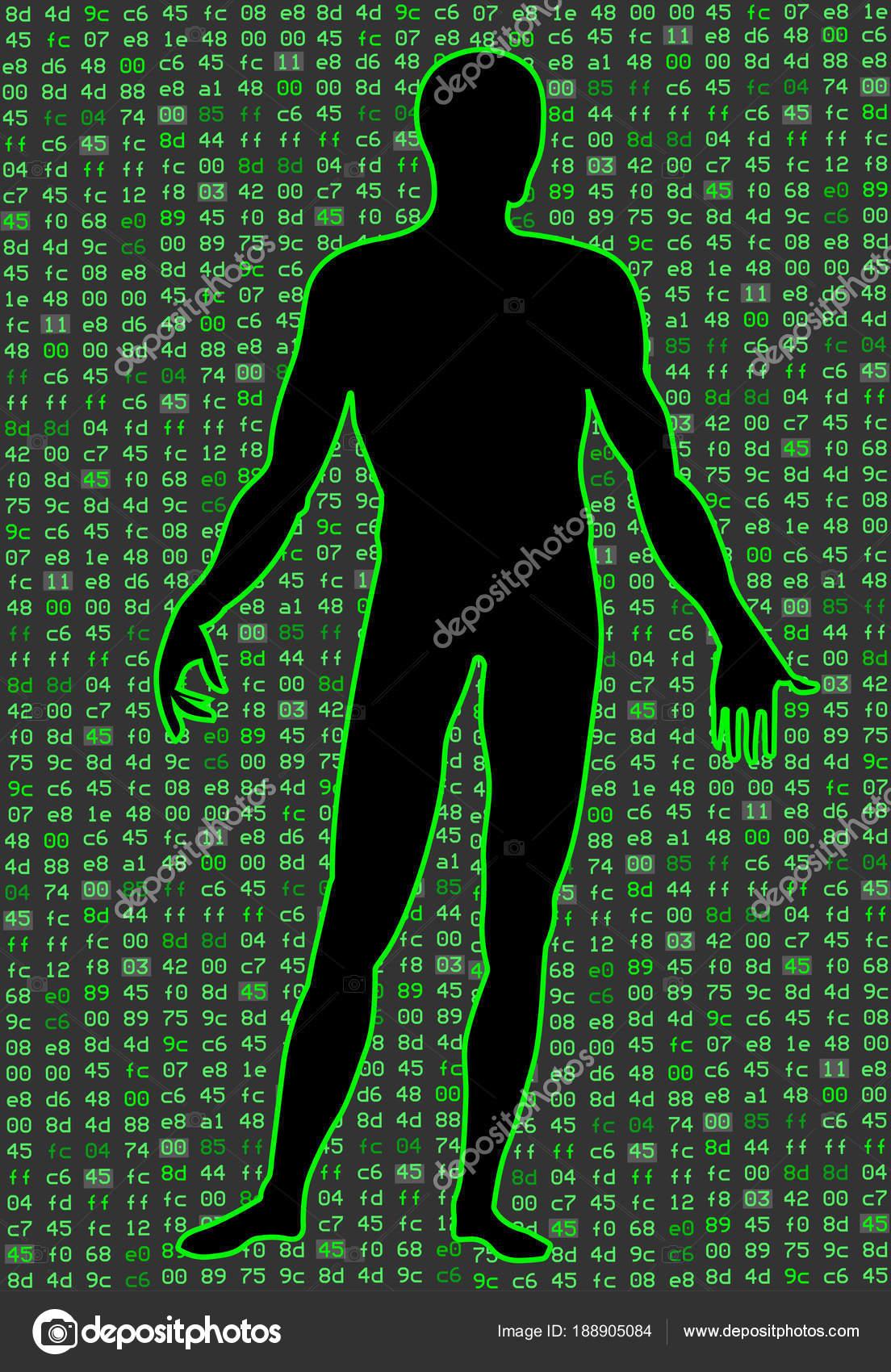 Künstliche Intelligenz. Silhouette von einem Mann Körper, innerhalb ...