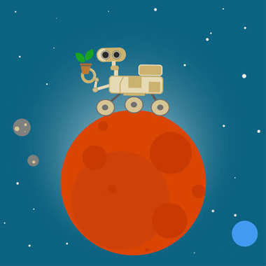 Rover on Mars in cartoon style