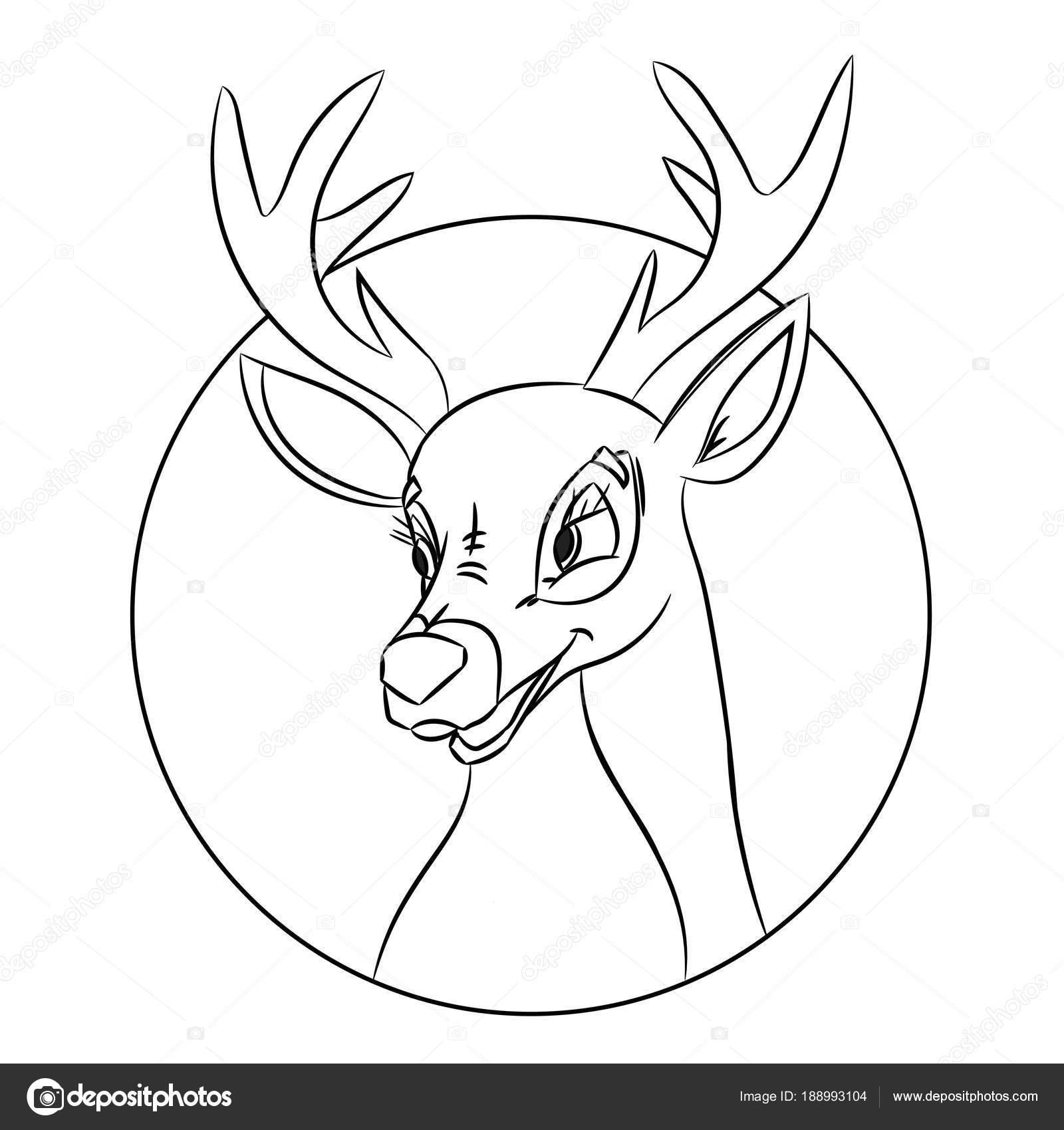 Hand Drawn Deer Head Coloring Page Picture Made In Classic Cartoon