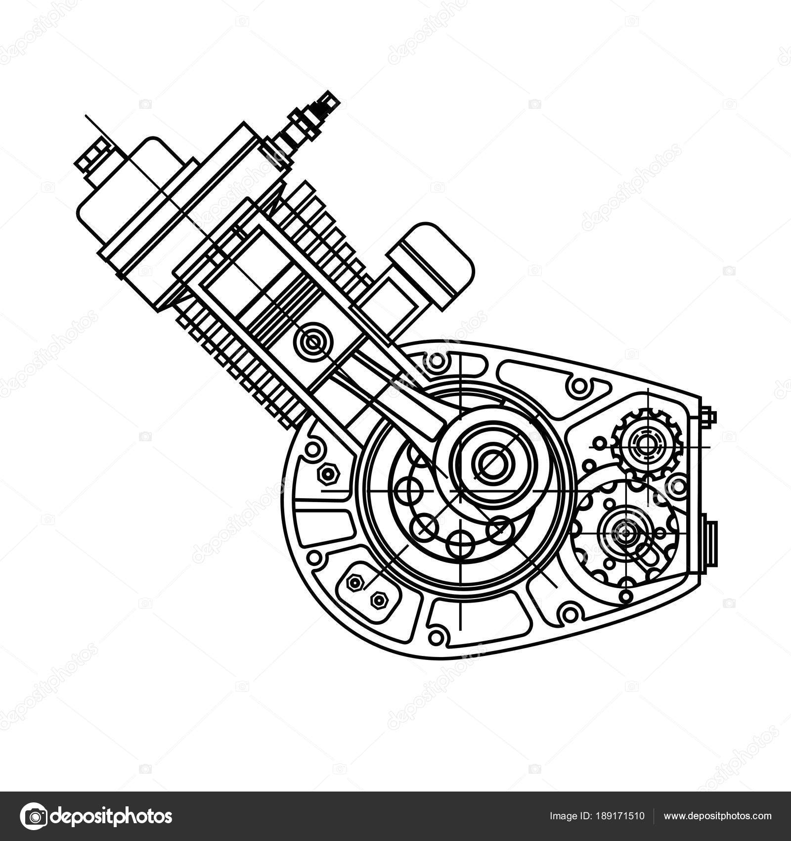 Dibujo Motor Moto Diseño De Motor De Moto Aislado En Fondo