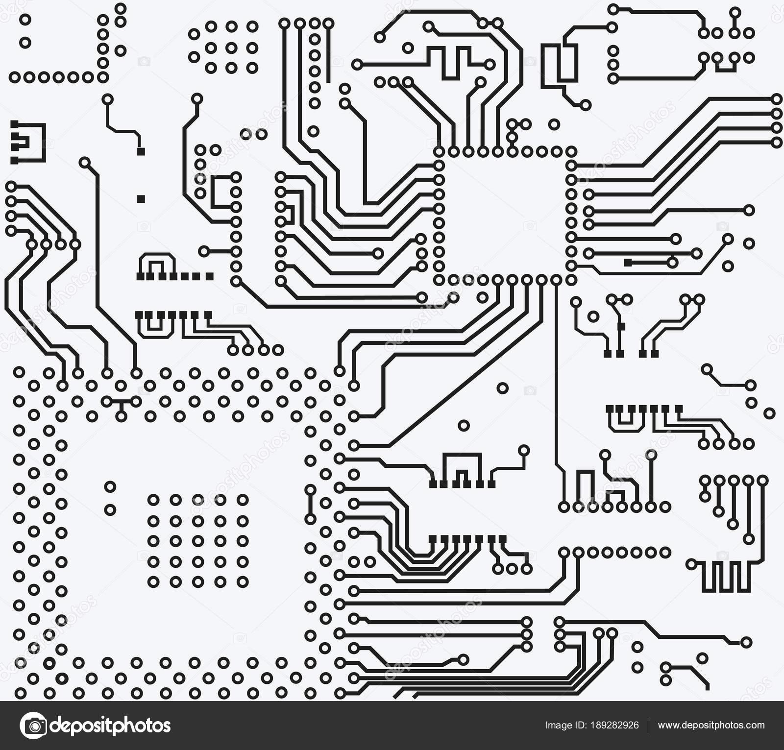 High Tech Electronic Circuit Board Vector Background Stock Electric Diagram