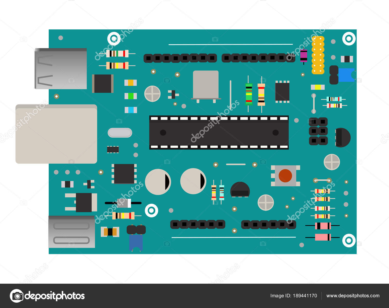 DIY electronic mega board with a microprocessor, interfaces, LEDs ...