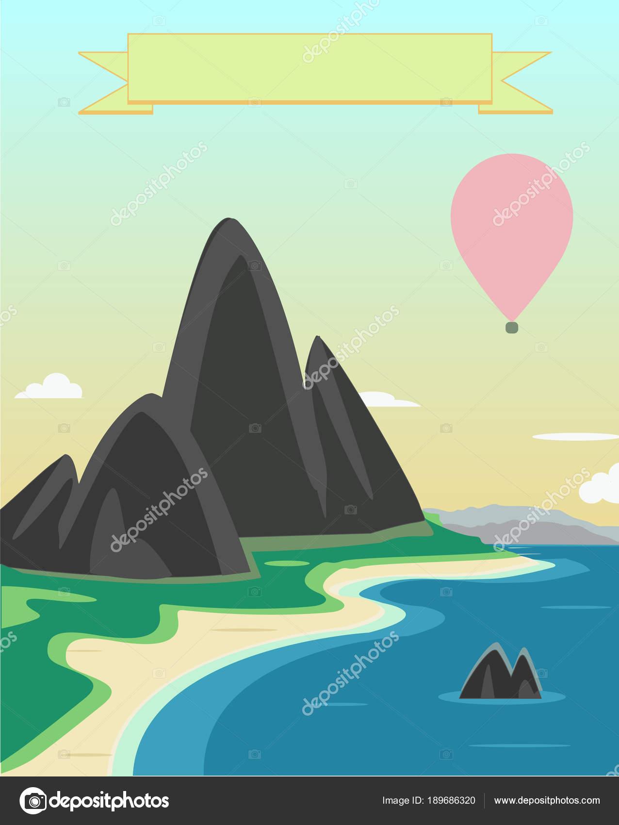Paisaje que representan las montañas, el mar y la playa. Un lugar ...