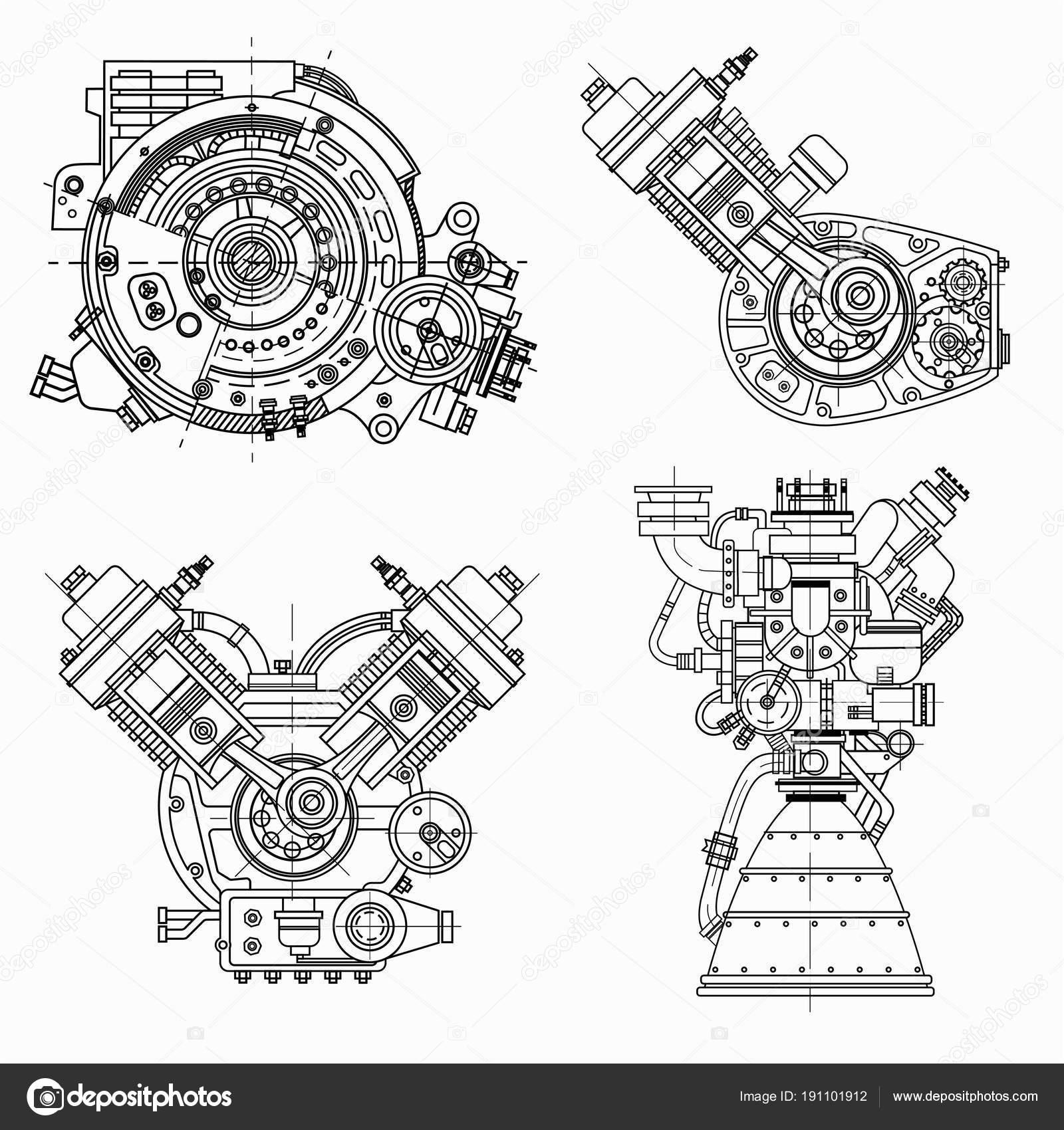conjunto de dibujos de motores