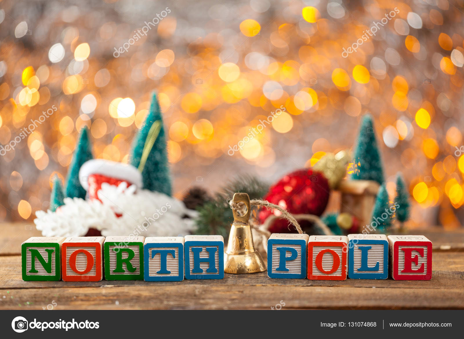 North Pole Written With Toy Blocks On Christmas Card Background ...