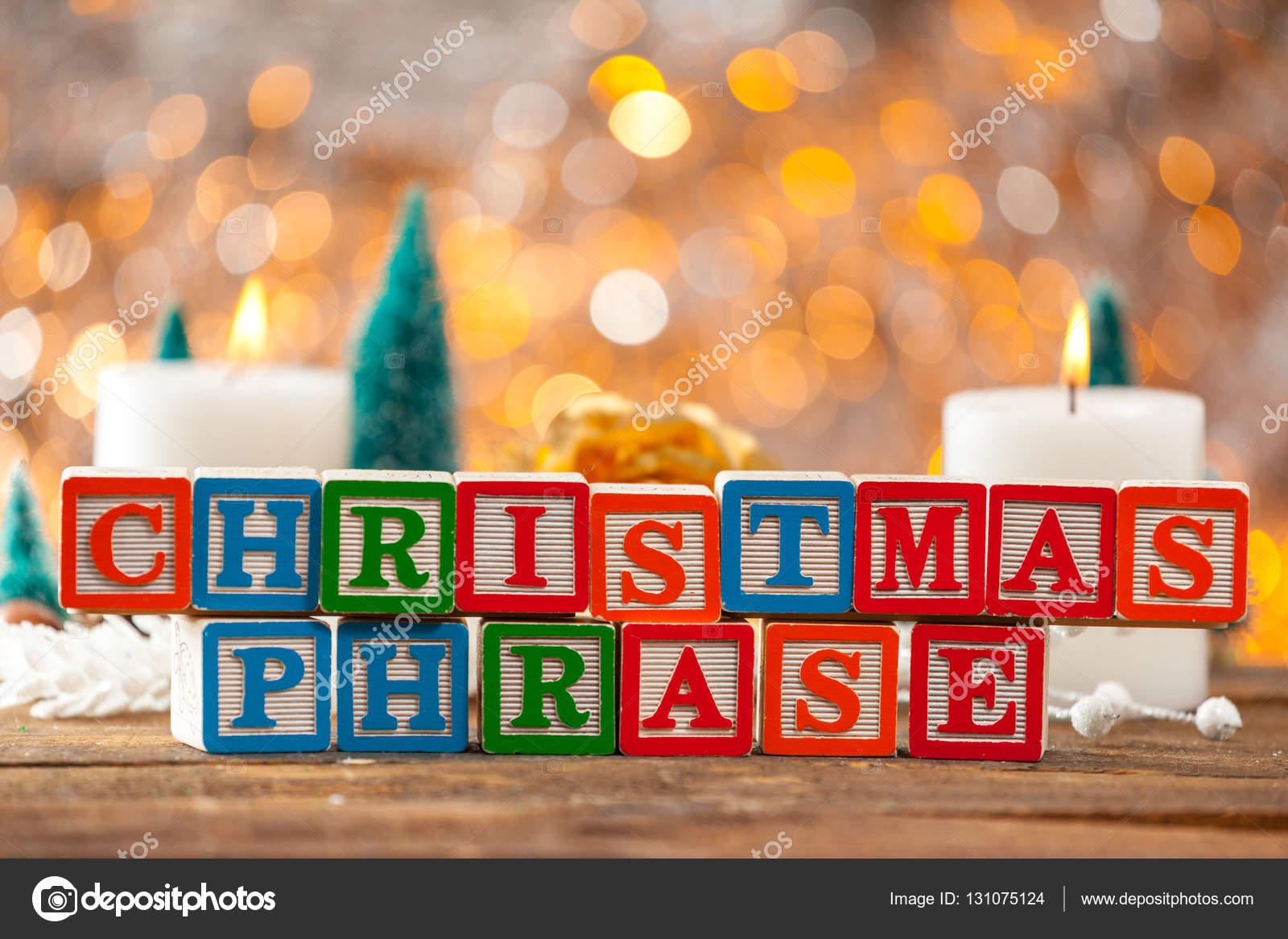 Weihnachten Satz geschrieben mit Klötzchen auf Weihnachtskarte ...