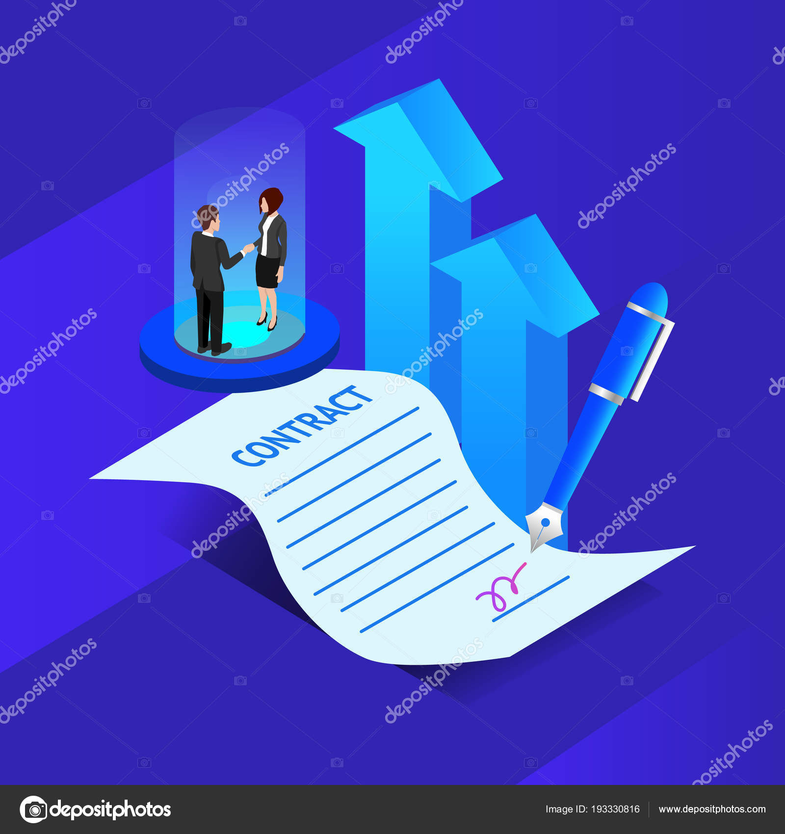 Concept Business Agreement Contract Vector Stock Vector