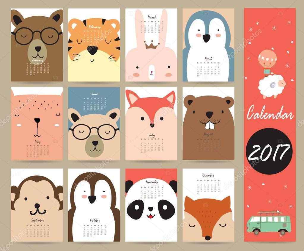 colorful cute monthly calendar 2017 with bear penguin monkey and