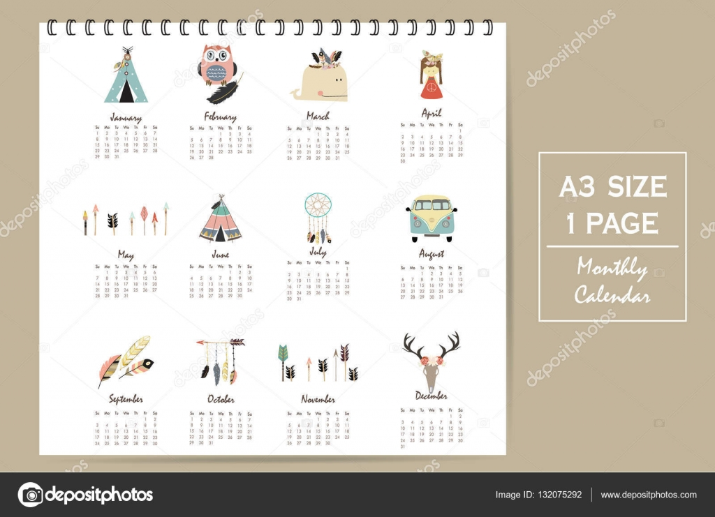 Cute Calendar Illustration : Colorful cute monthly calendar with tent whale
