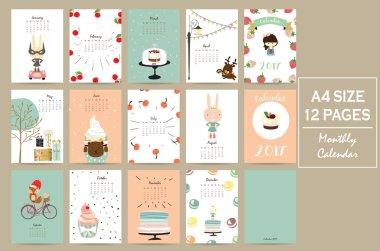 Colorful cute monthly calendar 2017 with rabbit,cherry,bear,fox,