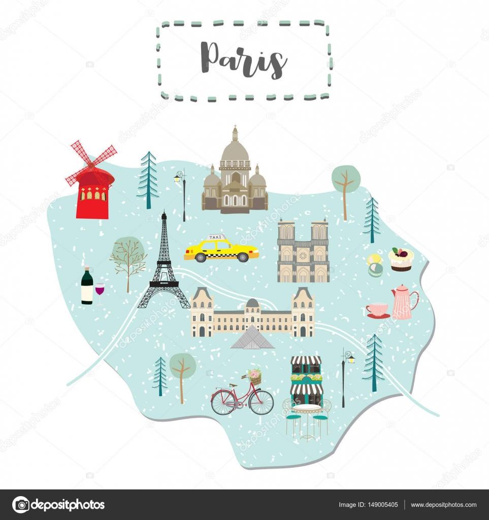 フランスのパリのかわいい地図 ストックベクター Supidchapeach