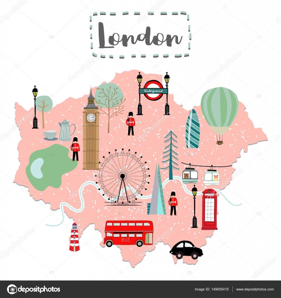 イギリスのロンドンのかわいい地図 — ストックベクター © supidcha_peach
