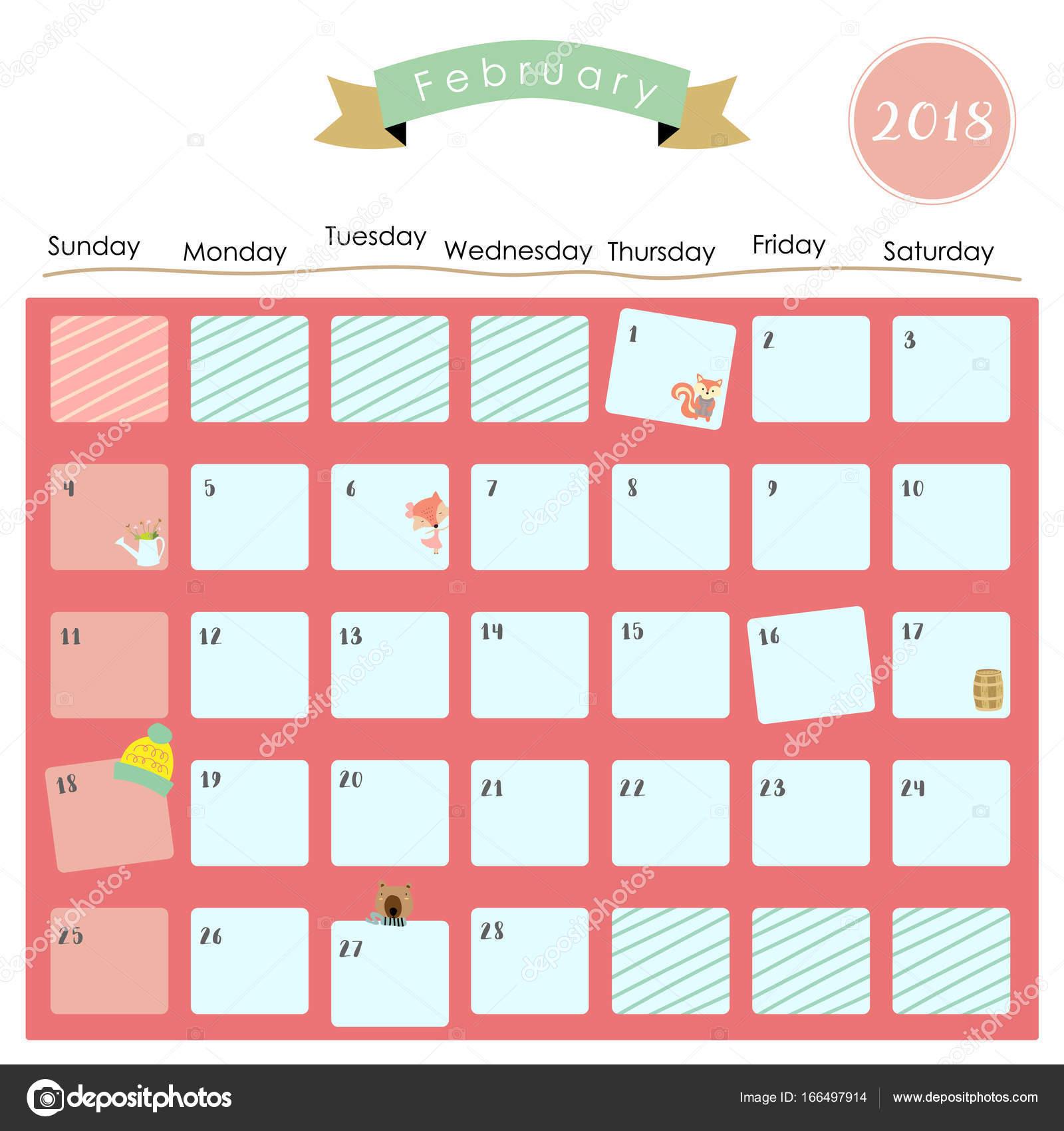 Cute Calendar February 2018 : Colorful cute february calendar with squirrel fox bear and