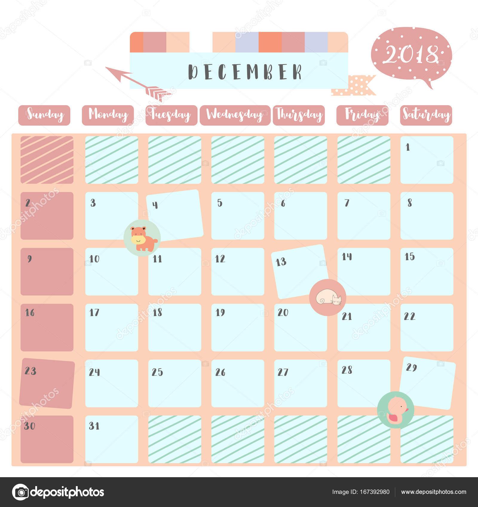 Calendario Dezembro 2019 Bonito.Calendario De Dezembro De 2018 Bonito Colorido Com