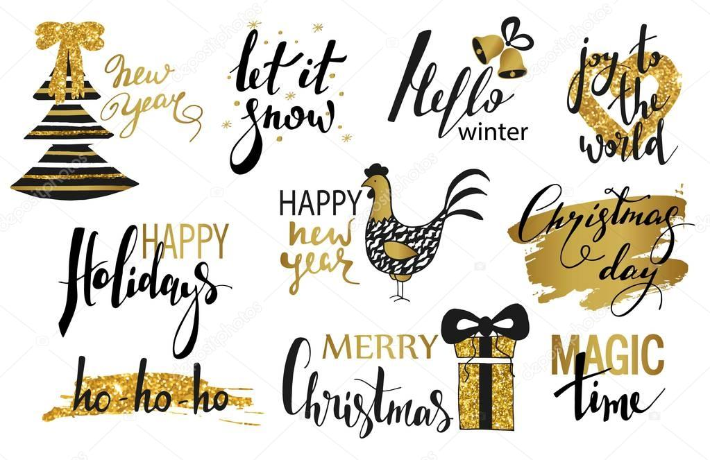Schriftzug Frohe Weihnachten Zum Ausdrucken.Frohe Weihnachten Text Handgezeichnete Schriftzug Und Happy New