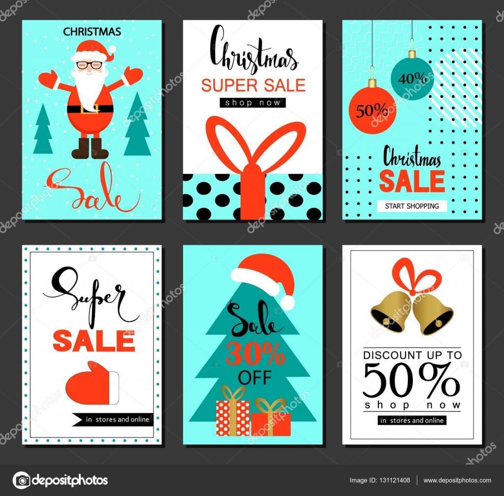 Plantillas de venta y el descuento de Navidad. Conjunto de banners ...