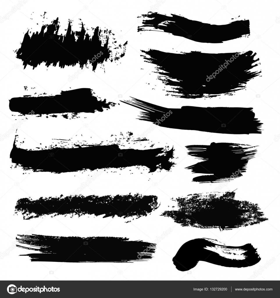 Conjunto de trazos de pincel de tinta, pinceles, pintura negra ...
