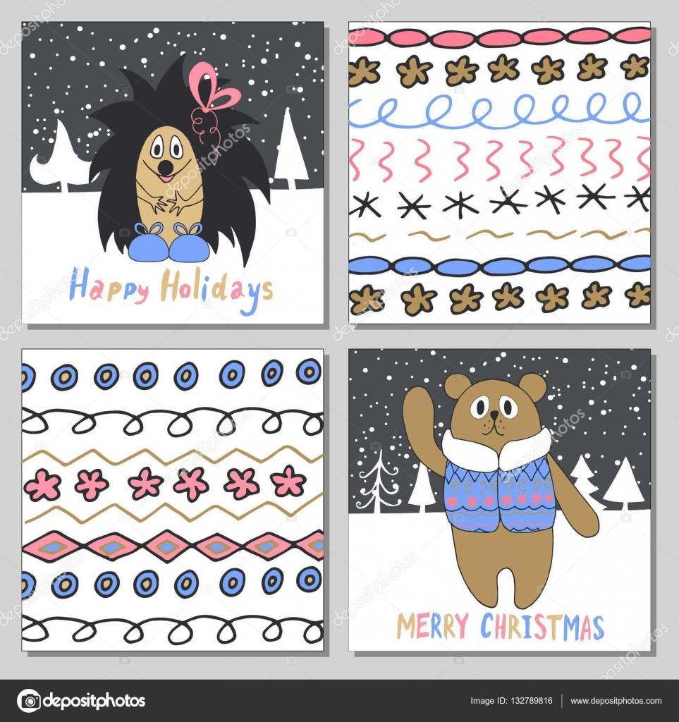 Weihnachtskarten Per Mail.Frohe Weihnachten Gruß Kartenset Mit Niedlichen Igel Bären Und