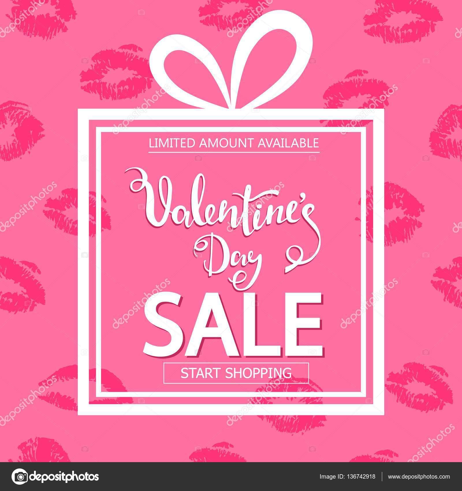 Valentinstag-Verkauf. Quadratische Banner in Form von Geschenk ...