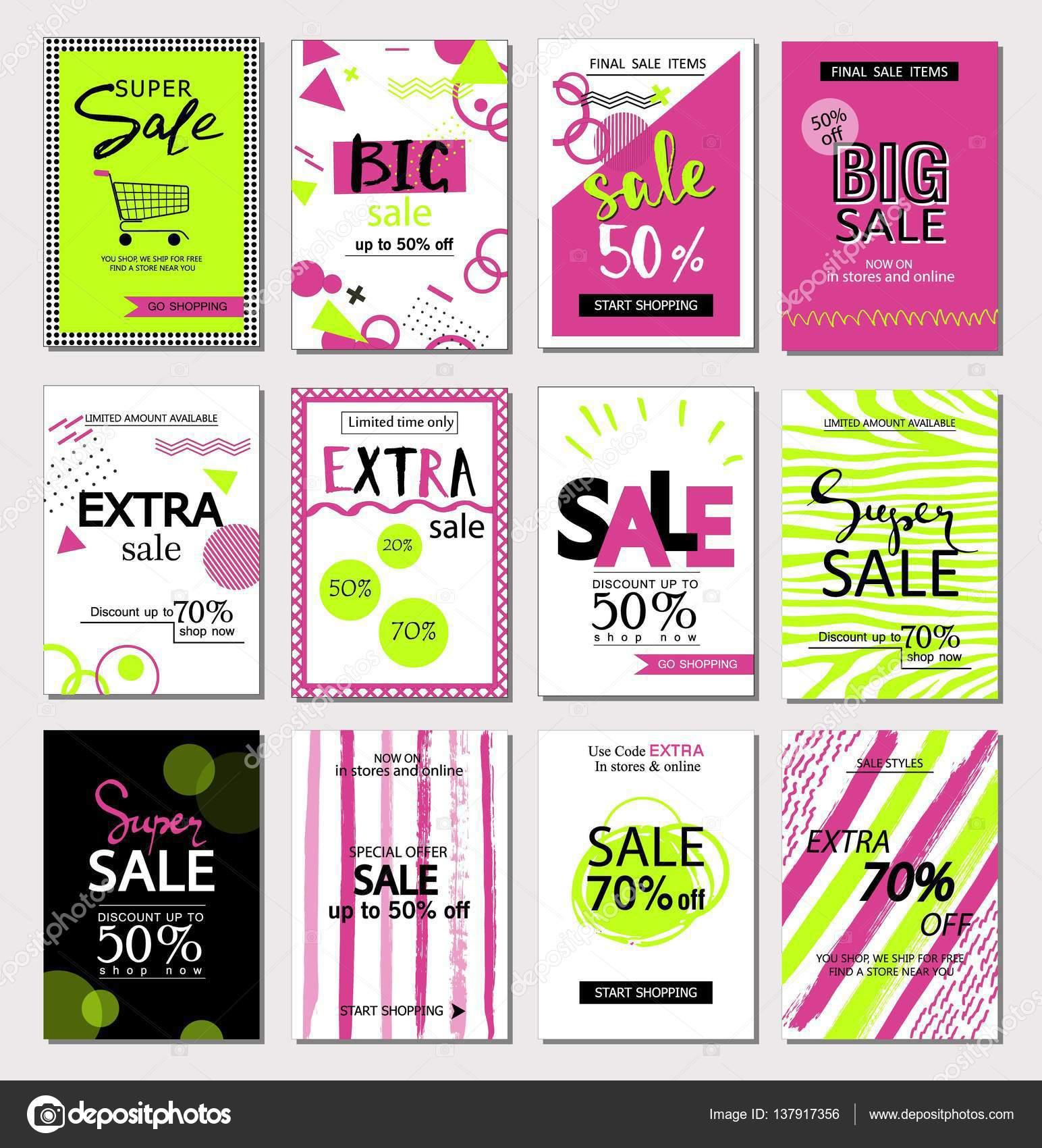 Gran conjunto de redes sociales venta web y plantillas banner móvil ...