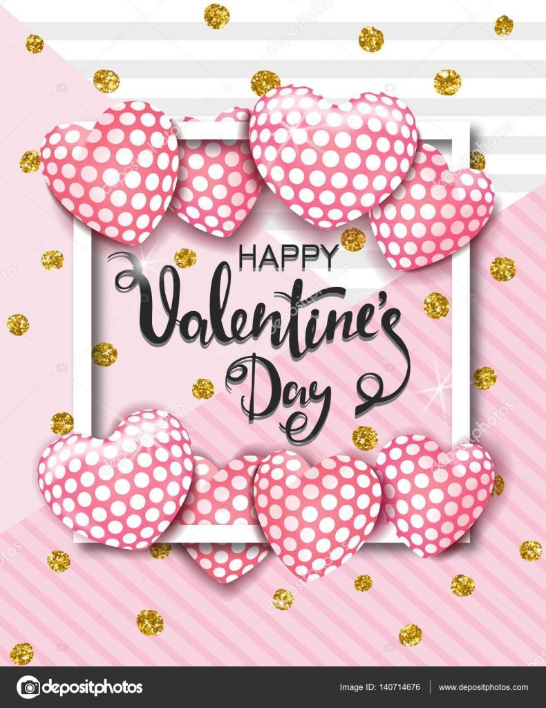 Happy Valentines Day Karte mit niedlichen rosa Herz Luftballons ...