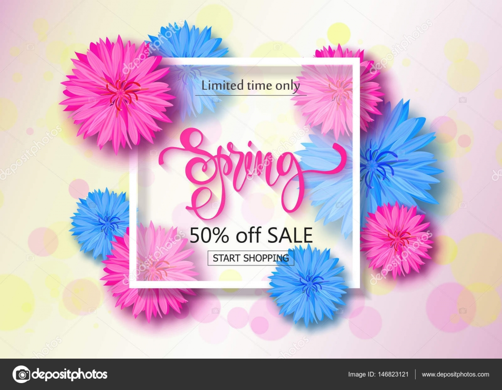 Spring sale background with flowers season discount banner vector season discount banner vector illustration template wallpaper flyers invitation posters brochure vector by infectsiyail stopboris Images