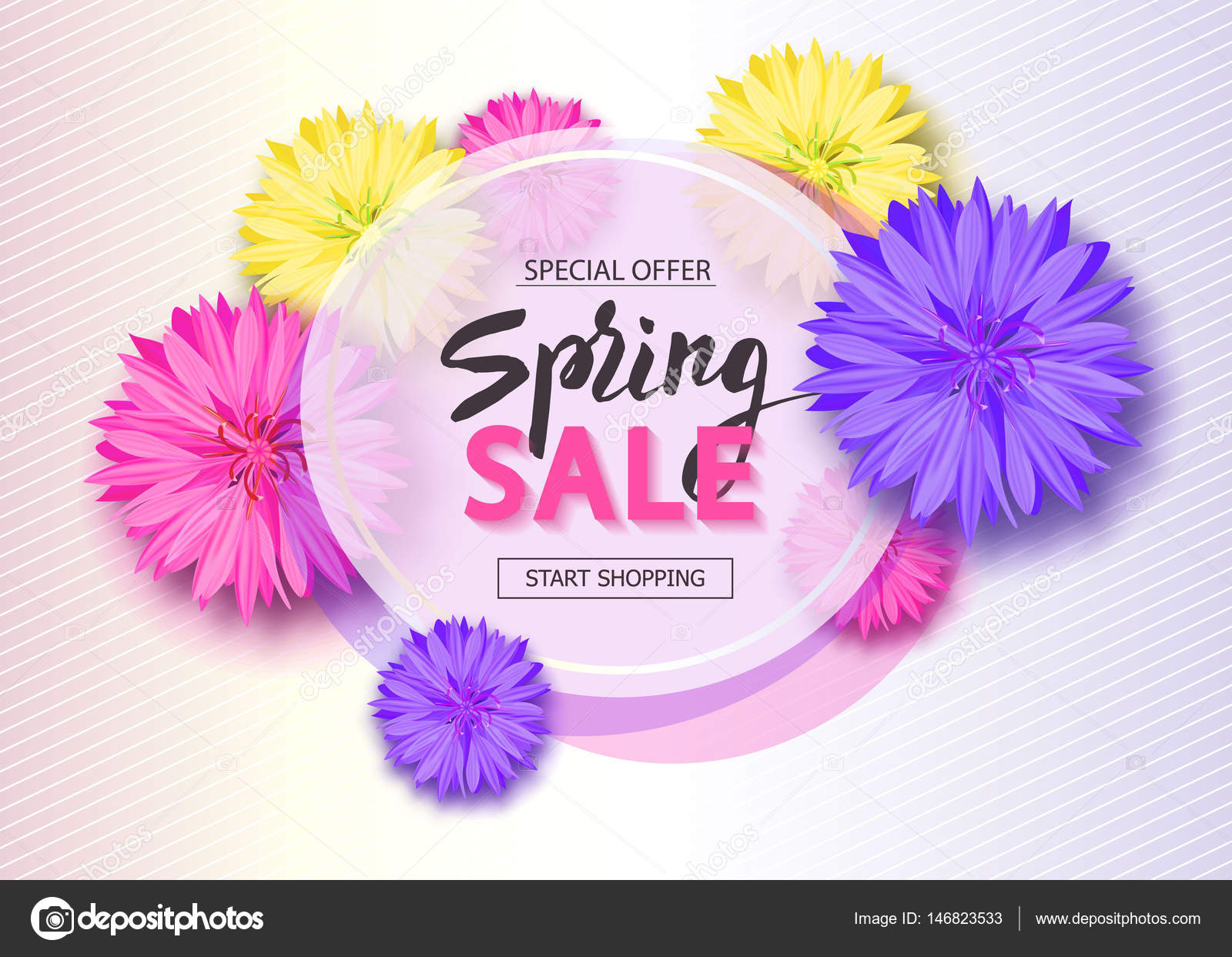 Spring sale background with flowers season discount banner vector spring sale background with flowers season discount banner vector illustration template wallpaper izmirmasajfo