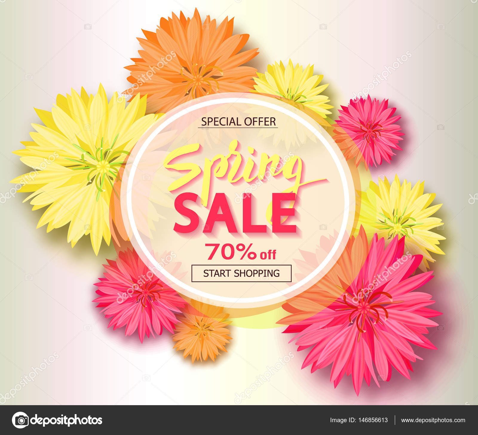 Spring Sale Background With Flowers Season Discount Banner Vector Illustration Template Wallpaper