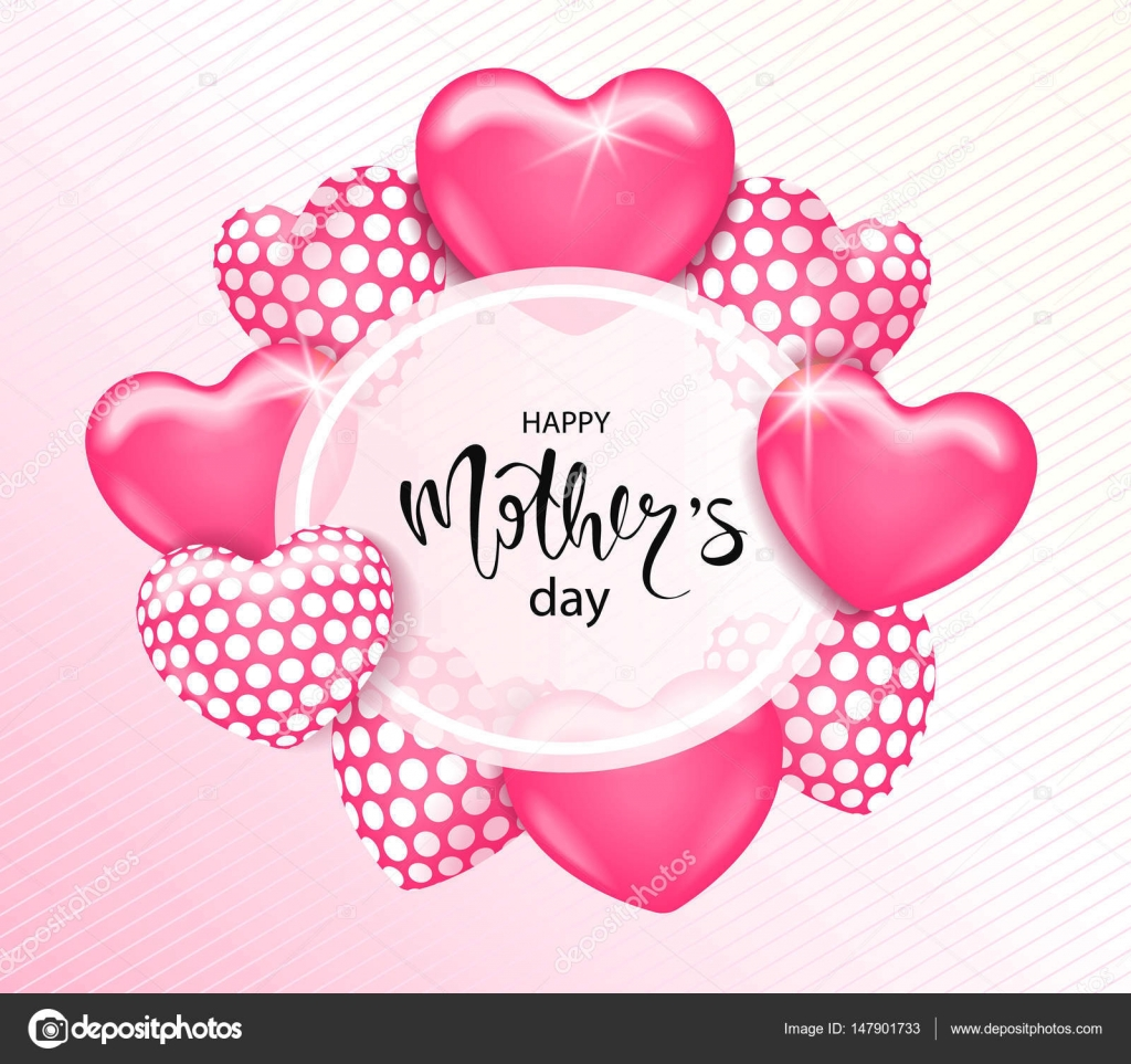 Happy Mothers Day Card Template With Cute Pink Heart Balloons Lettering It May Be Used For Background Poster Advertising Sale Postcard E