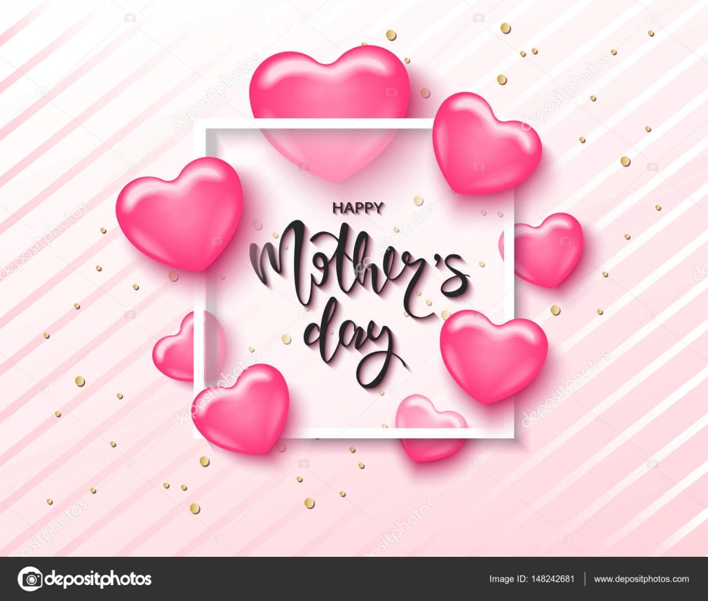 Happy Mothers Day Card Template With Cute Pink Heart Lettering It May Be Used For Background Poster Advertising Sale Postcard E