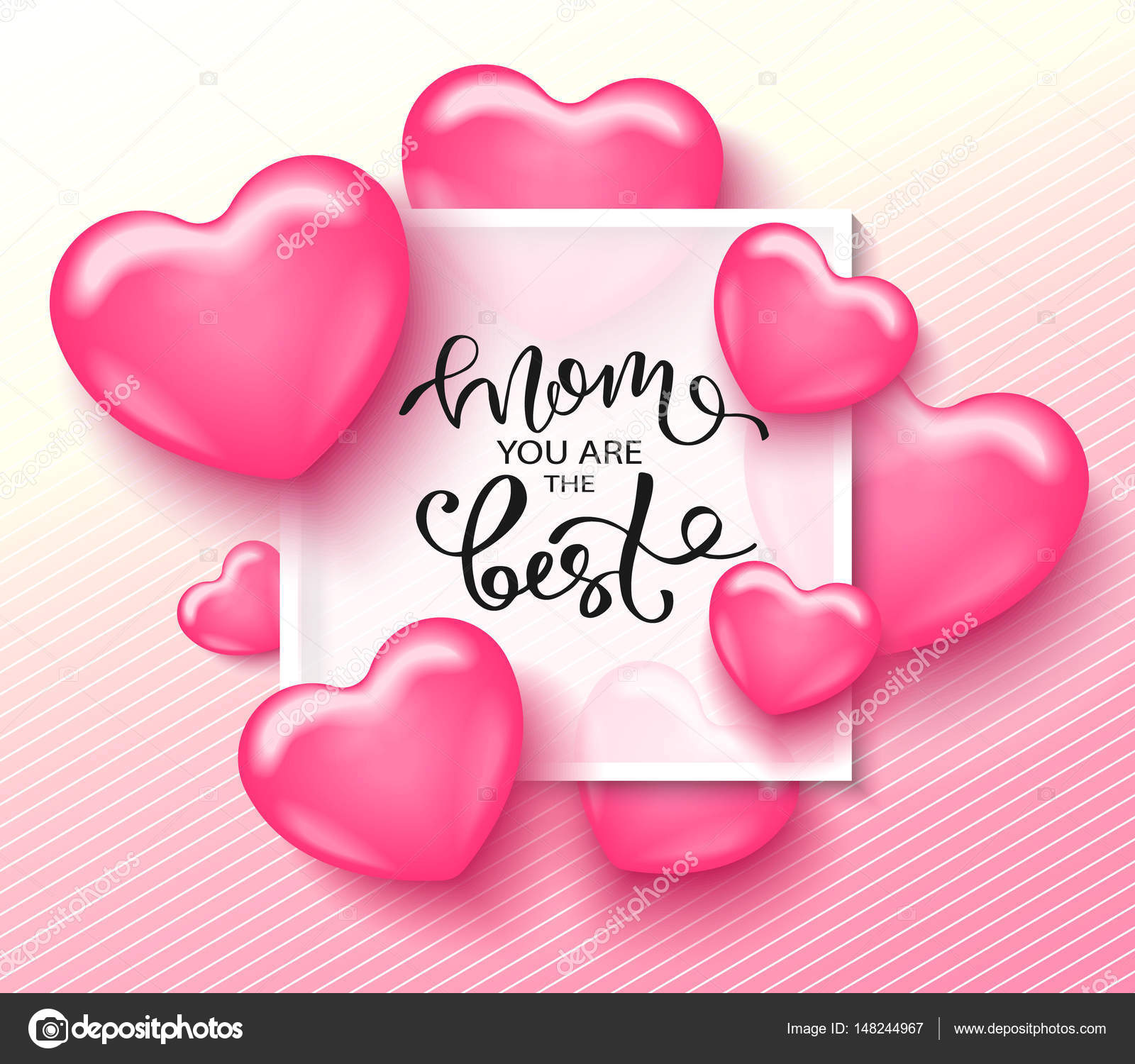 Mom You Are The Best Card Template With Cute Pink Heart And Lettering It May Be Used For Background Poster Advertising Sale Postcard E
