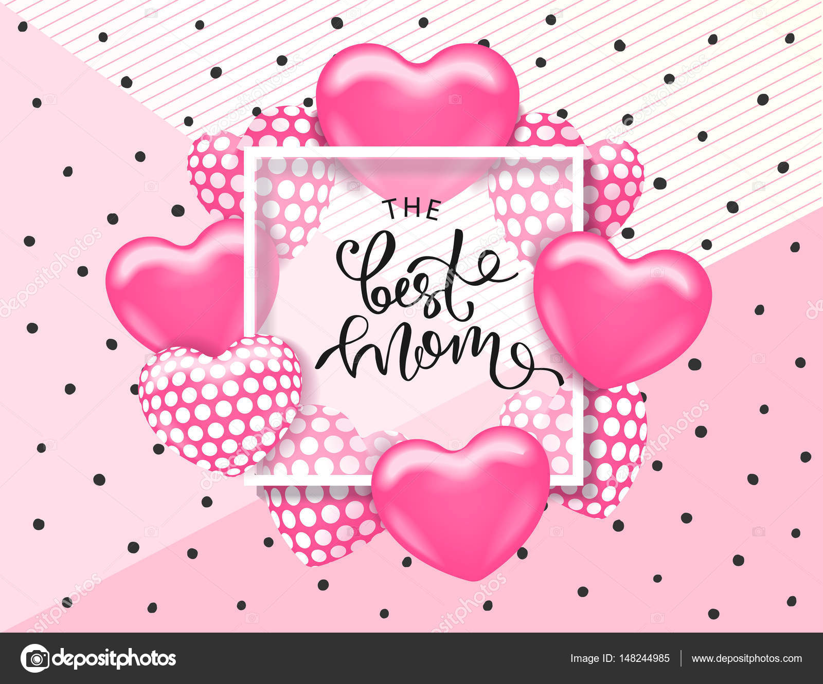 The Best Mom Card Template With Cute Pink Heart And Lettering It May Be Used For Background Poster Advertising Sale Postcard E