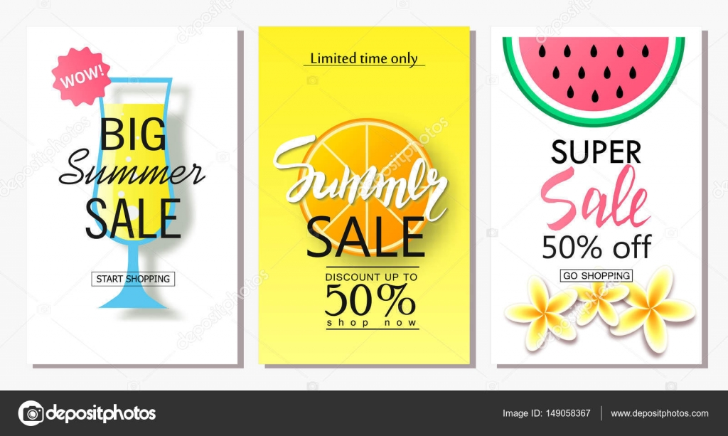 set of summer sale banner templates vector illustrations for