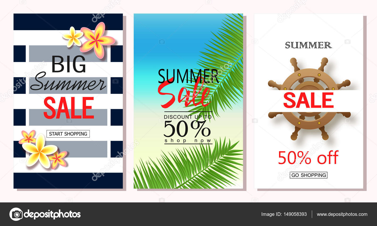 Email Ads Templates   Set Of Summer Sale Banner Templates Vector Illustrations For