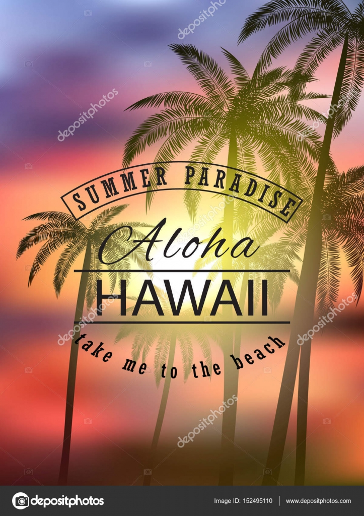 Aloha Hawaii Summer Tropical Background With Palms Sky And Sunset Vector Illustration Eps 10 Format Template Banners