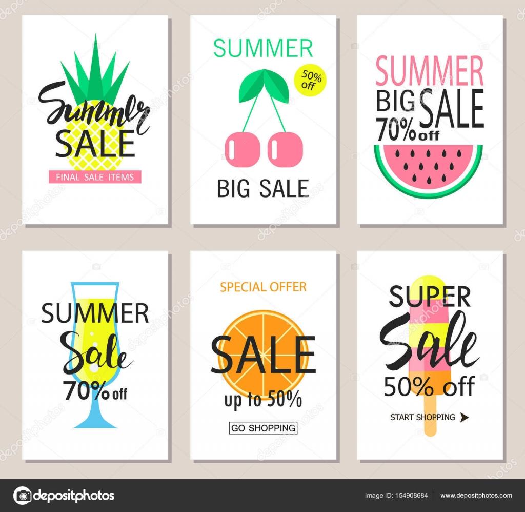 Reihe von Sommer-Verkauf-Banner-Vorlagen. Tapete, Flyer, Einladung ...