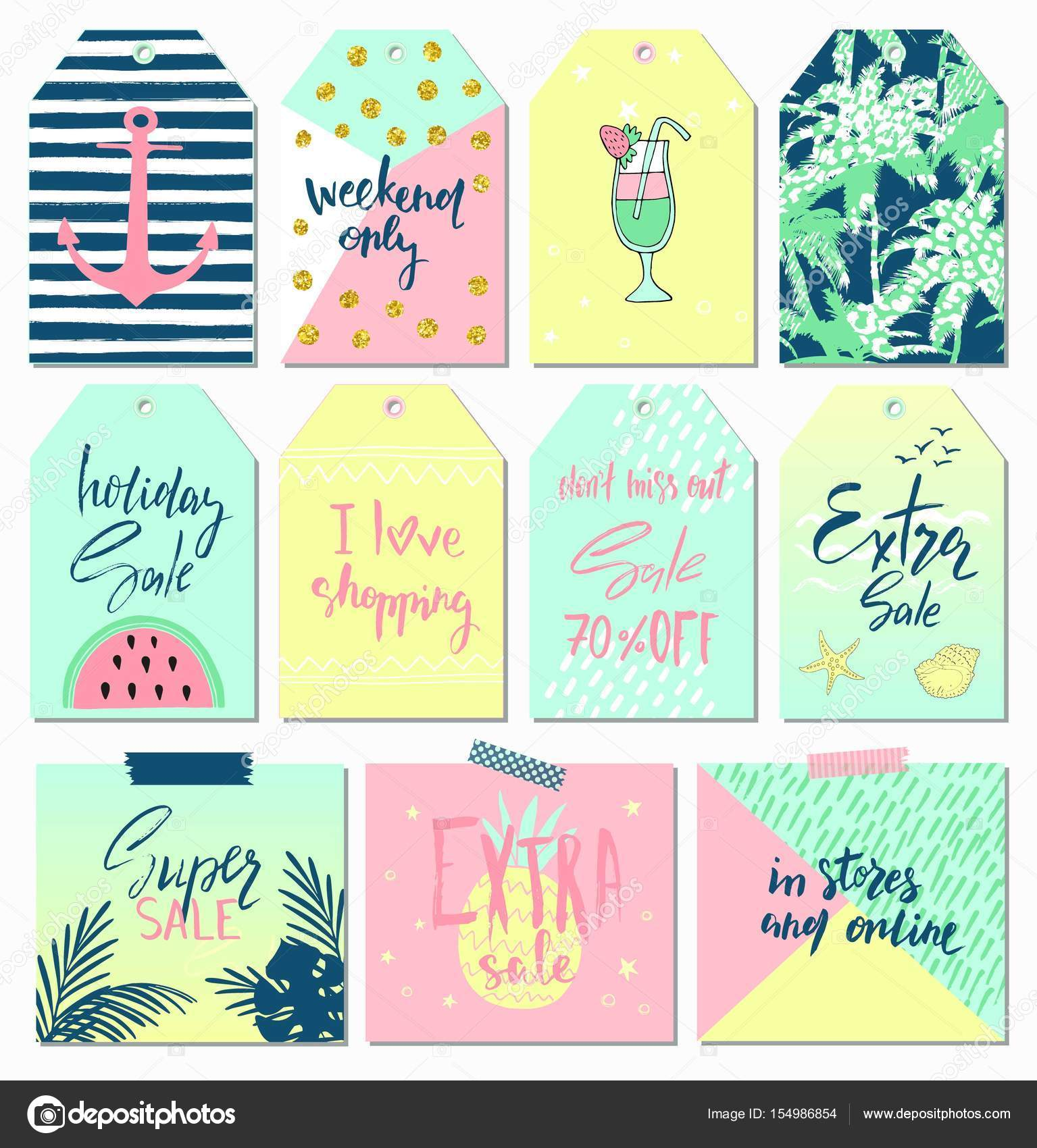 Summer Set Of Sale And Gift Tags Labels With Cute Hand Drawn Design Elements Handwritten Lettering And Textures Vector Illustration Stock Vector C Infectsiya Mail Ru 154986854