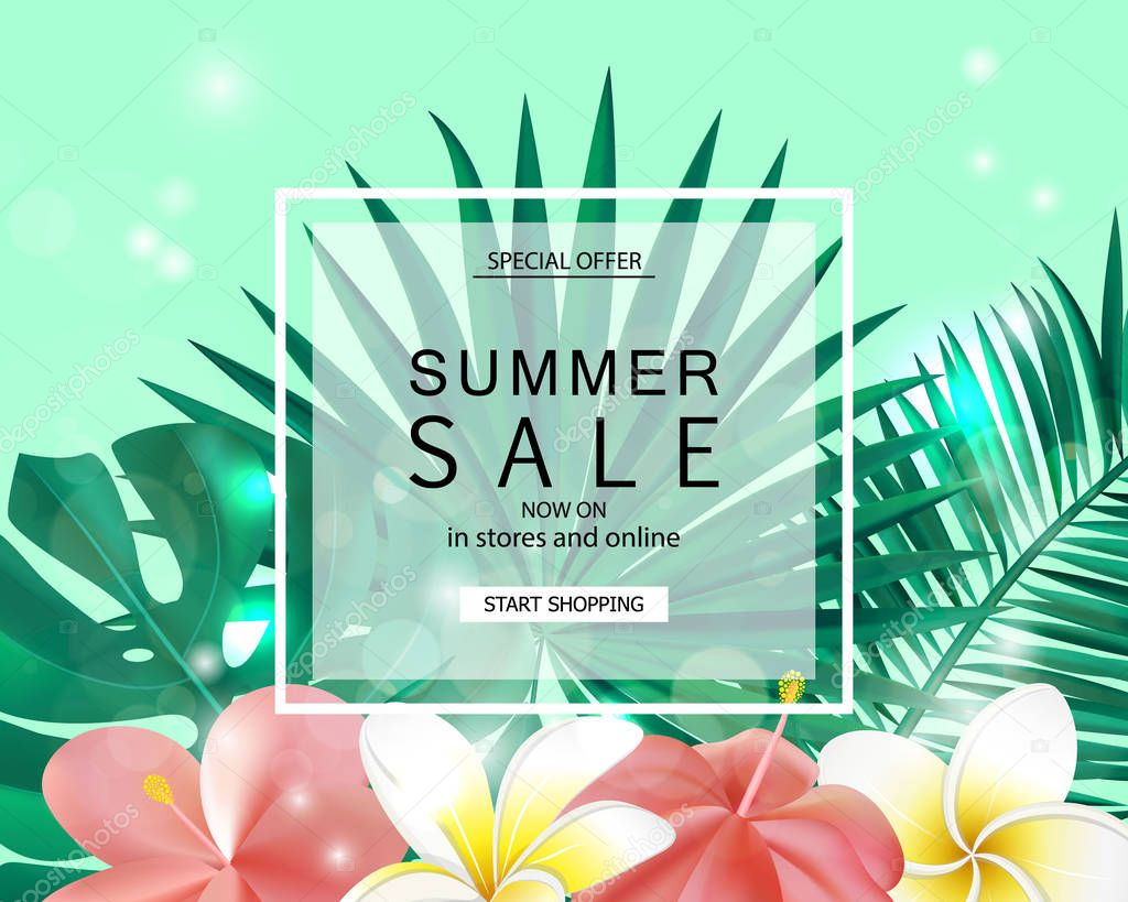 Summer sale banner, poster with tropical plants, leaves and flowers. Vector illustration.