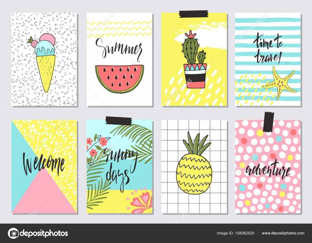 set of cute hand drawn summer cards background holiday travel