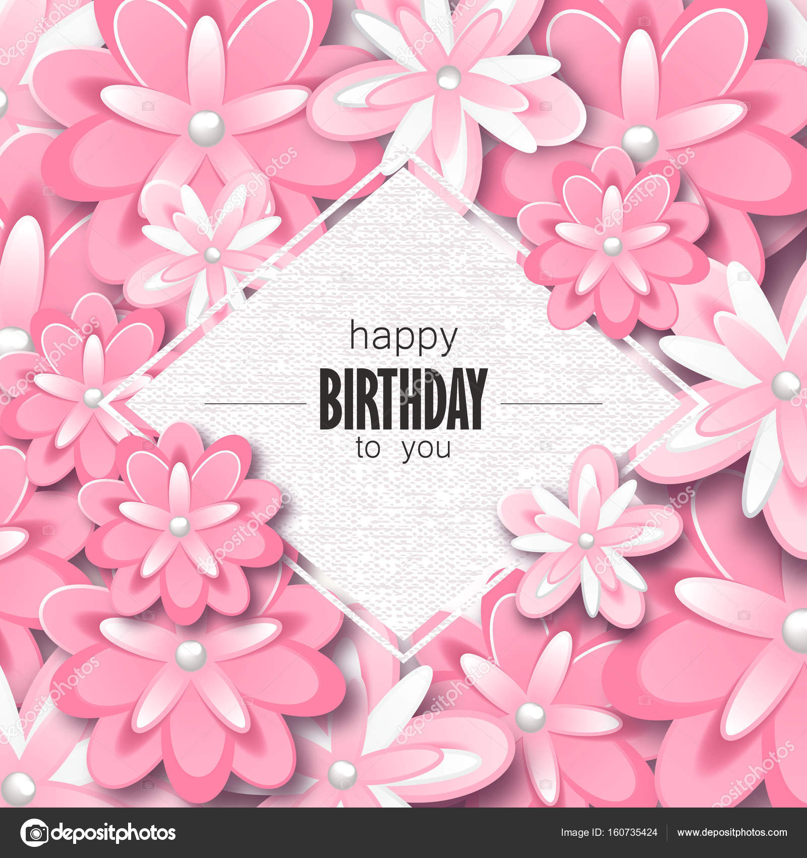 Happy Birthday Greeting Card And Party Invitation Template With