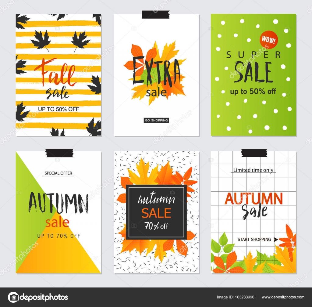 Juego de cartas de venta otoño creativo artístico. Diseño para la ...