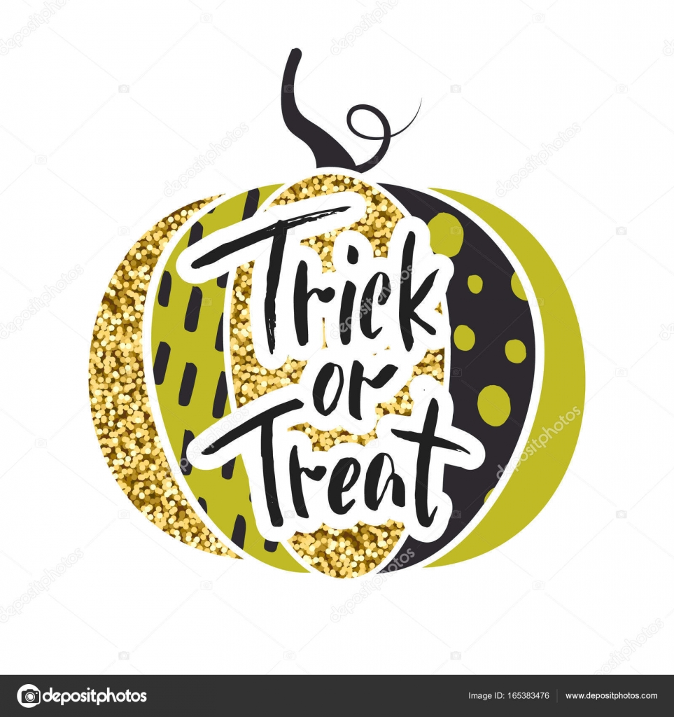 Happy Halloween Trick Or Treat Glamorous Sparkling Pumpkin With