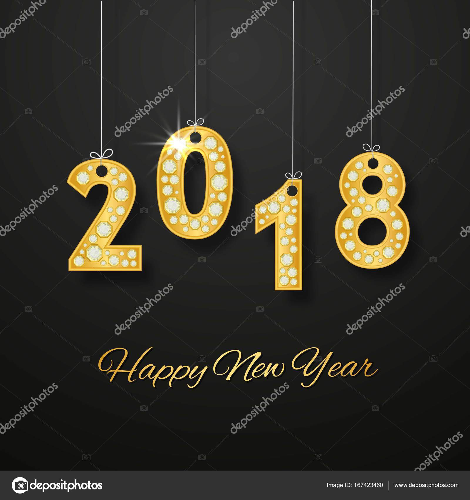 Happy new year 2018 greeting card design with golden number and happy new year 2018 greeting card design with golden number and diamonds vector illustration vector by infectsiyail m4hsunfo