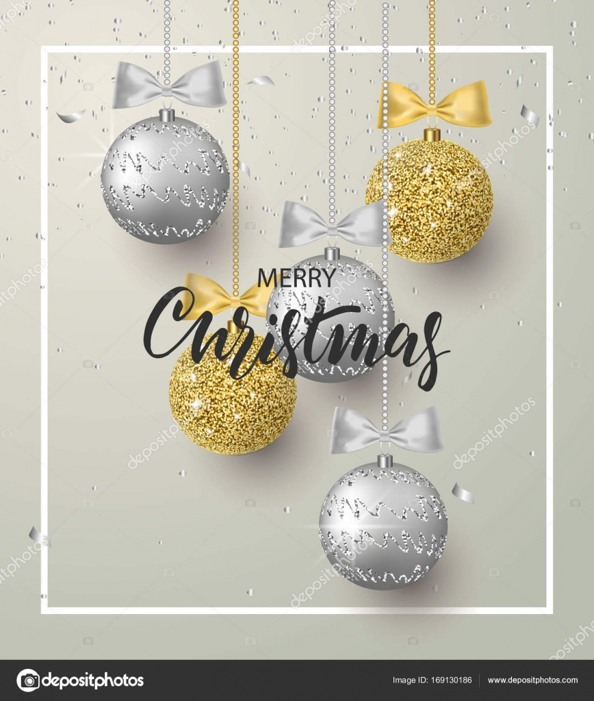 merry christmas and happy new year background for holiday greeting card invitation party flyer poster banner silver gold shiny tree balls and