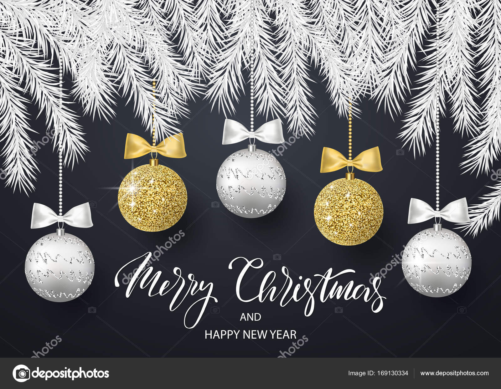 merry christmas and happy new year background for holiday greeting card invitation party flyer poster banner silver gold shiny tree balls