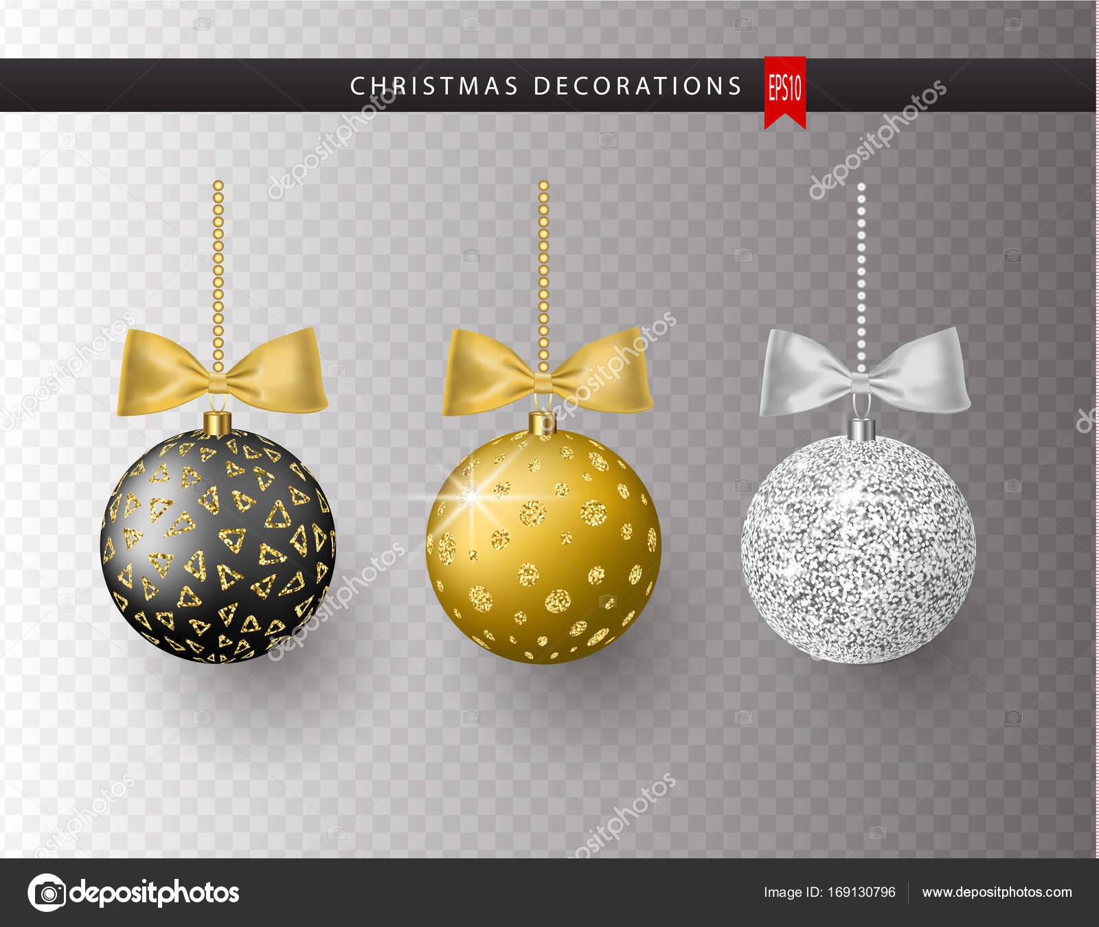 Collection Of Realistic Beautiful Shiny Christmas Balls With Bow Isolated On Transparent Background New Year Decoration Vector Xmas Tree