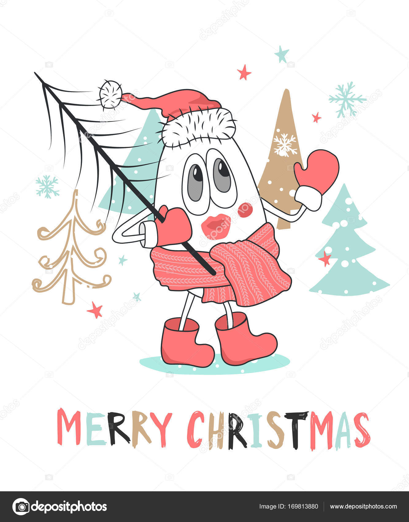 Cute Christmas Greeting Card With Snowman Ctor Illustration