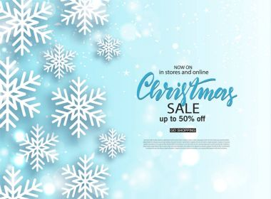 Christmas Sale poster with shiny snowflake. Vector illustration. Design for invitation, banners, ads, coupons, promotional material.